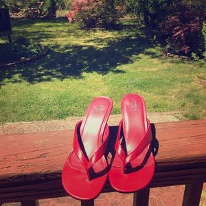 Brand new red heeled sandals